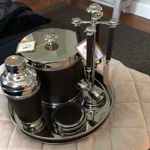 Leather bound stainless steel bar set